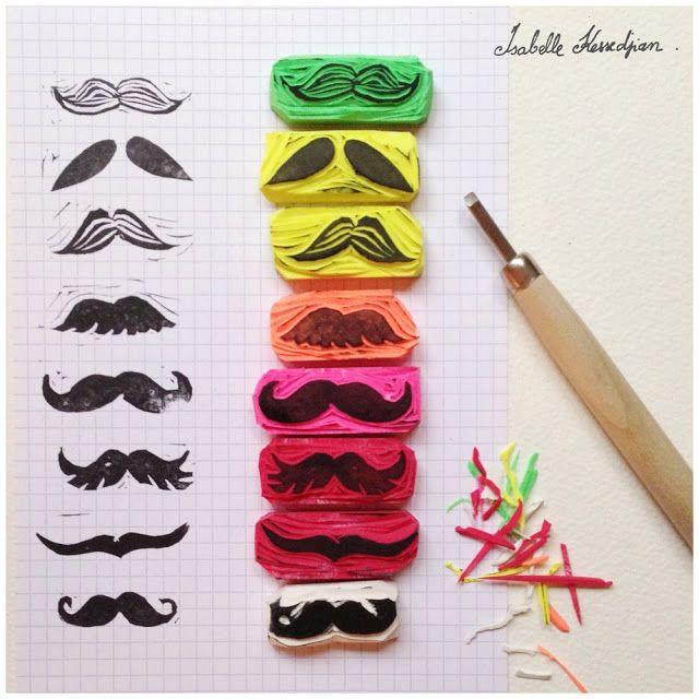 Isabelle Kessedjian: tampon gomme moustache avec mes élèves.