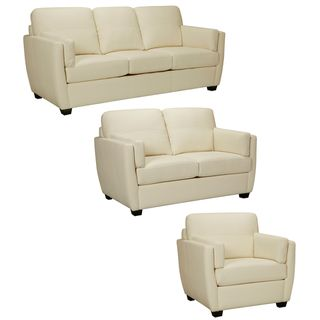 Hamilton Ivory Italian Leather Sofa Loveseat And Chair With