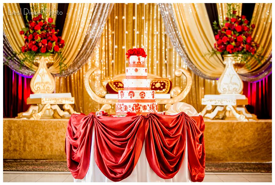 2 shaadi red gold cake roses indian muslim wedding reception decor mehndi shaadi and valima wedding photos by liesl diesel photo los angeles wedding lifestyle portrait photographer available worldwide junglespirit Images