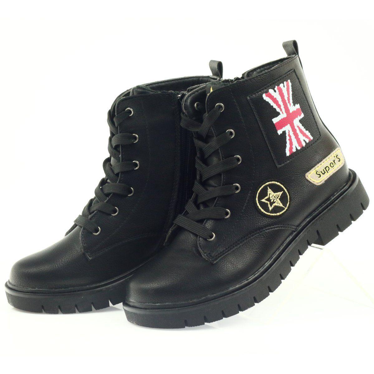 American Club American Super Workery Buty Zimowe Czarne Zolte Czerwone Boots Winter Boots Black Boots