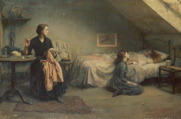 Widowed and Fatherless, 1888, Thomas Benjamin Kennington. English (1856 - 1916)