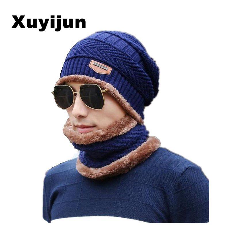 11be571b13c Balaclava wholesal knit scarf cap neck warmer Winter Hats For Men women  warm Baggy Beanies Fleece