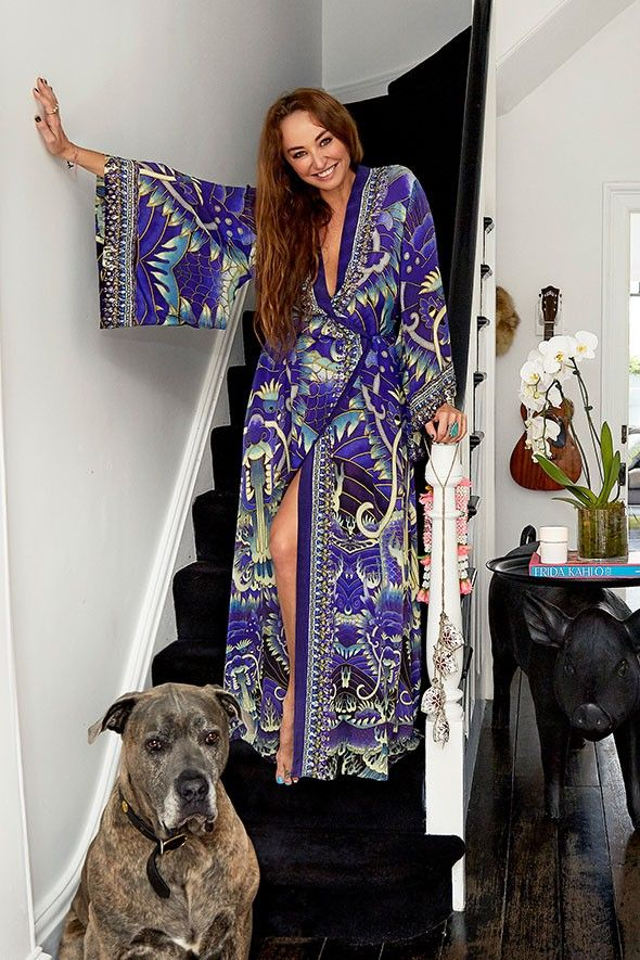 d34c474d6dd Camilla at home wearing What s Your Poison Kimono Wrap Dress ...