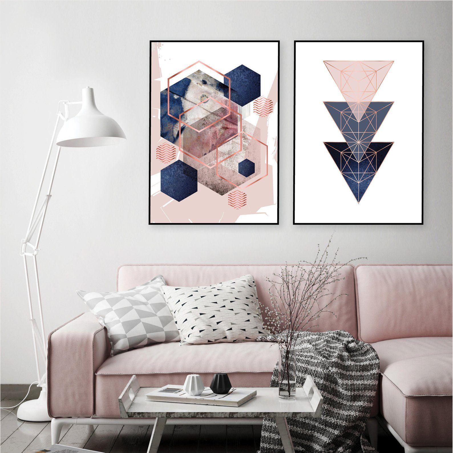 Set Of 2 Printable Blush Pink Navy Blue Rose Gold Geometric Art Prints Digital Download Dusky Pink Indigo Bedroom Wall Decor Trending Now Wall Decor Bedroom Wall Decor Trends Trending Decor