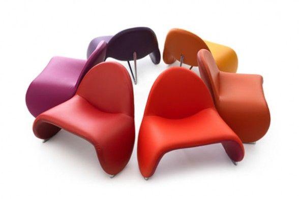 Unique Design Armchair Sella in a host of vivid colors by Leolux