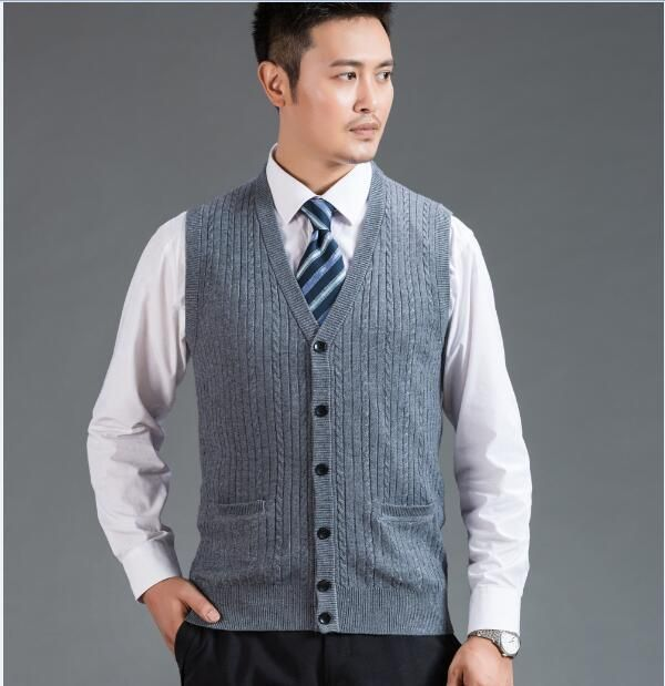 2016 New Trendy Style Autumn Mens Solid Color Wool Sweater Vest V ...