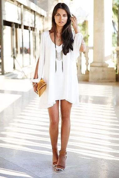 White V-neck Cut-out Sleeves Shift Chiffon Dress