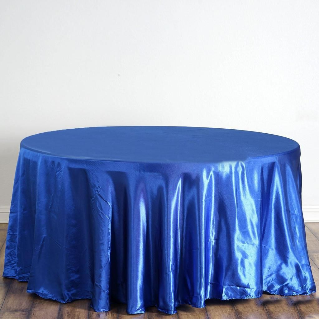 120 Royal Blue Satin Round Tablecloth With Images Party Table