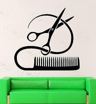 Hair Salon Wall Window Decal Sticker Hair Stylist Hair Tools Scissors Barber Shop Beauty Salon HS006