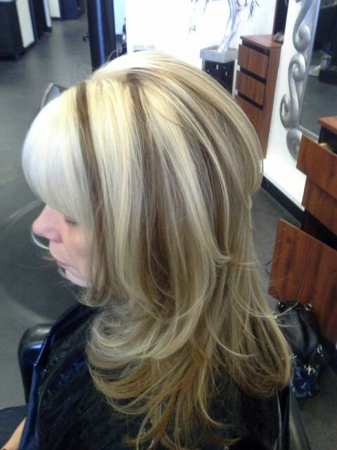 Long Layered Cut With Chunky Blonde Highlights And Level 8