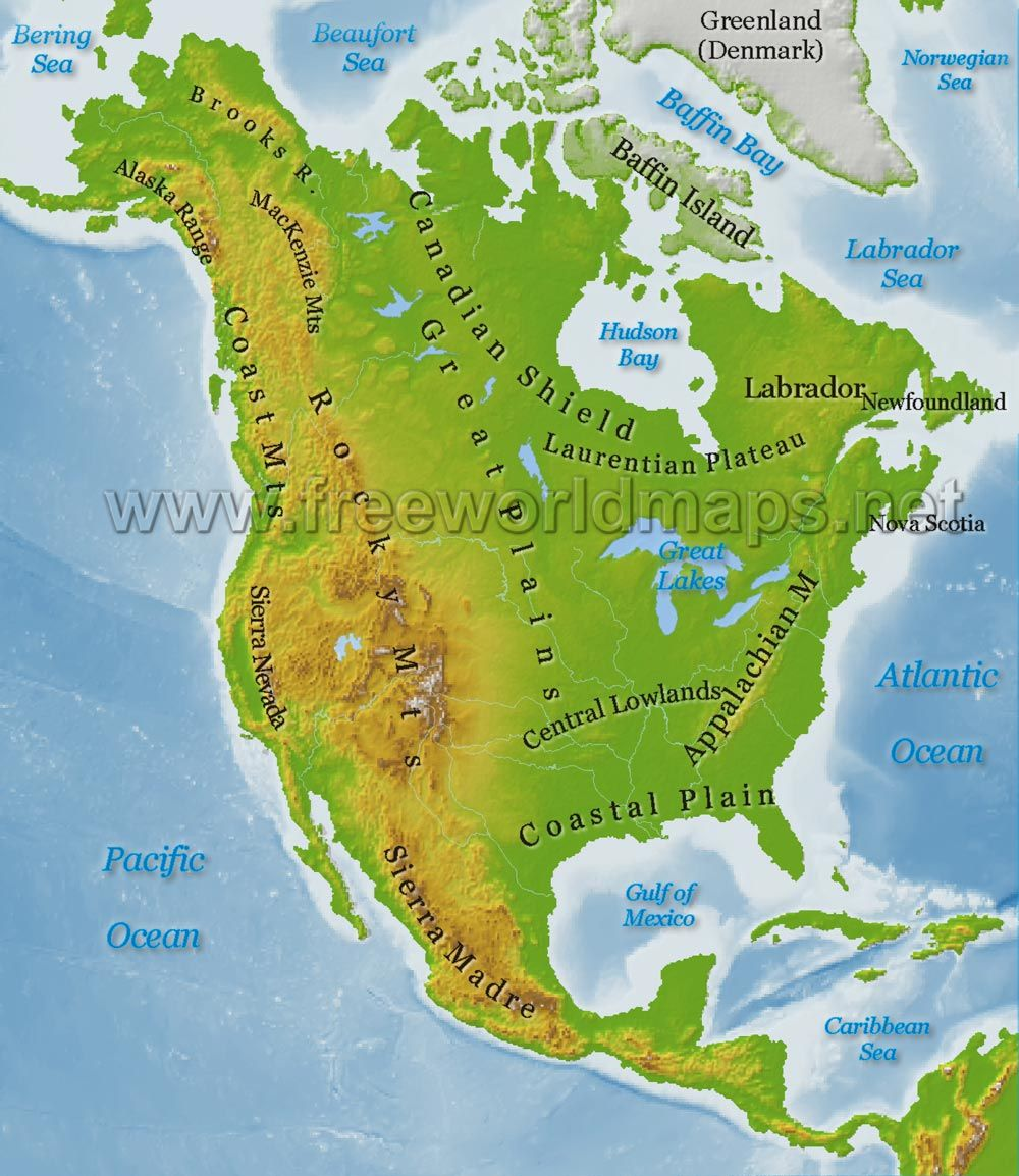 Physical Map Of Canada And The United States Canada Map - Map of canada usa and south america