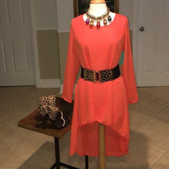 86a43c7d304 1 hour sale!!!!!!!! Orange long sleeve sheer dress tunic. Wear this ...