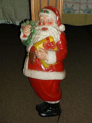 Vintage Noma Flat Back Plastic Blow Mold Santa Claus Light