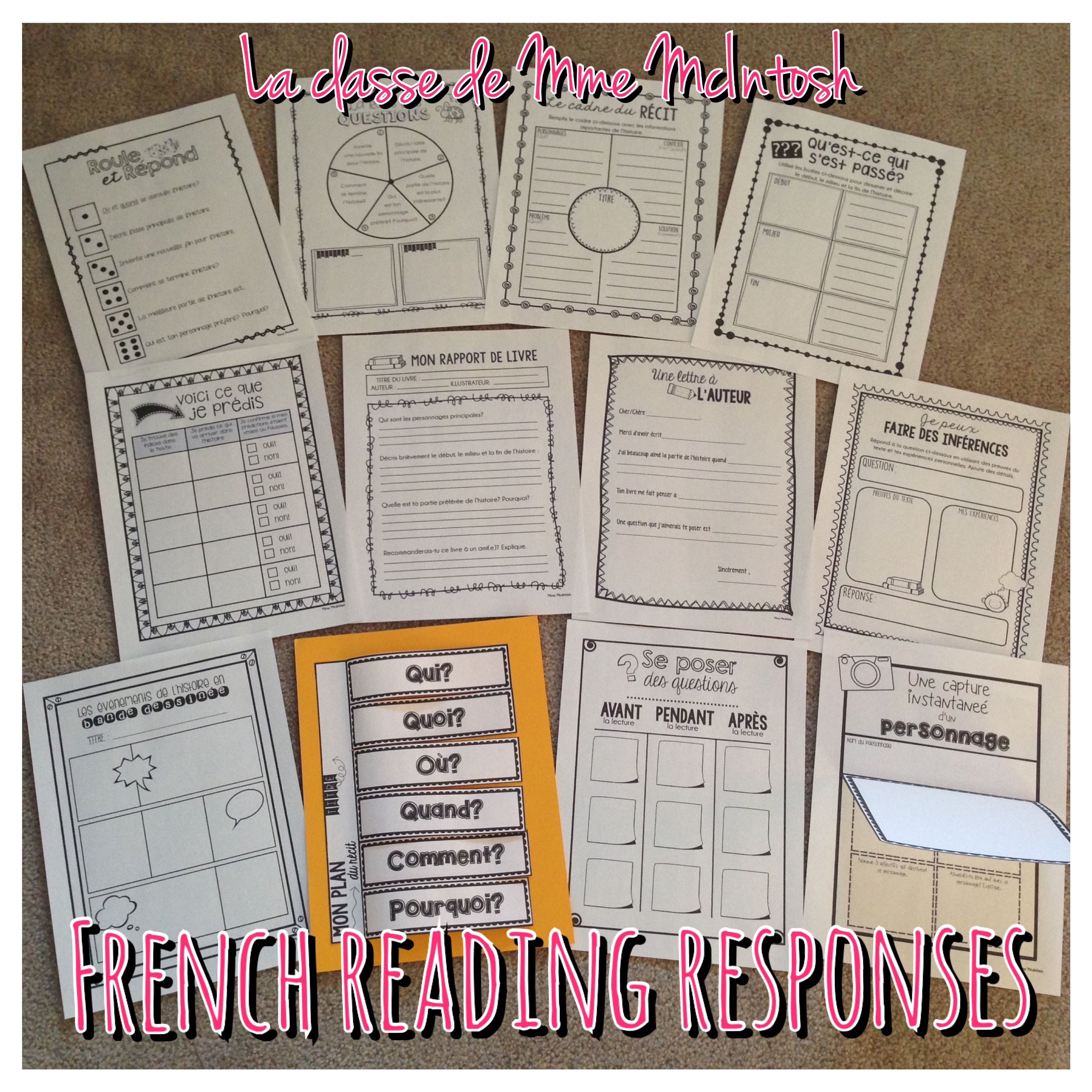 12 activités de compréhension/12 French Reading Response activities    Teaching french [ 3264 x 3264 Pixel ]