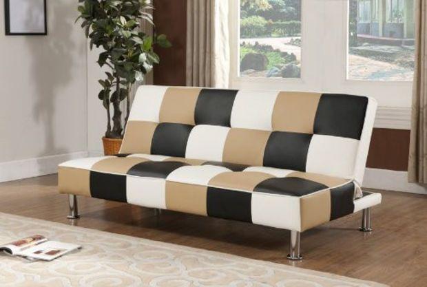 King S Brand Brown Black White Vinyl Checkered Klik Klak Sofa With Adjule Back Futon Bed