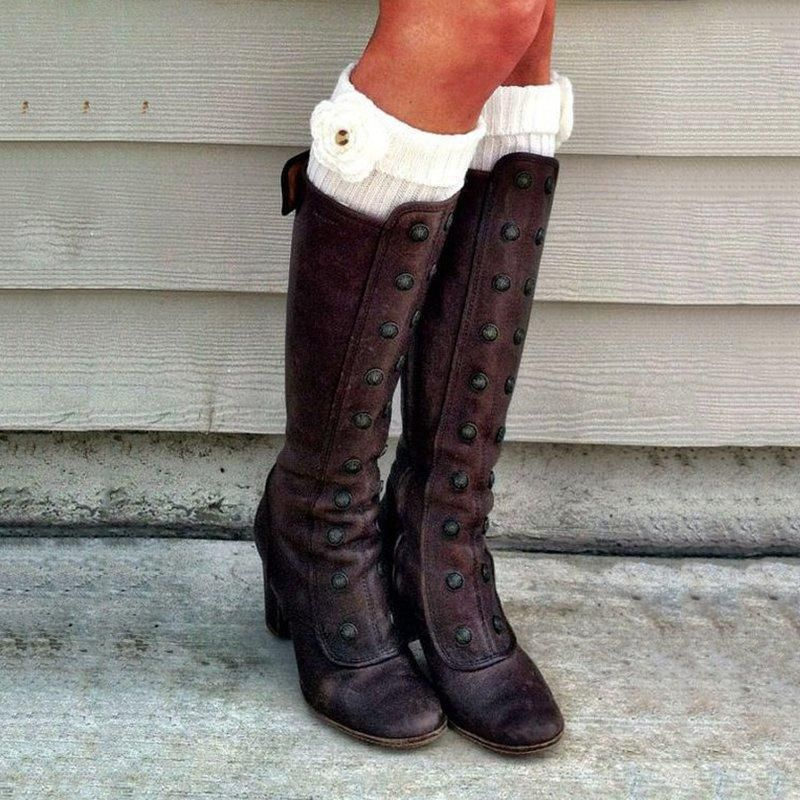 Party Vintage suede Fashon Booties Riding Knee High Womens block heel Boots Size