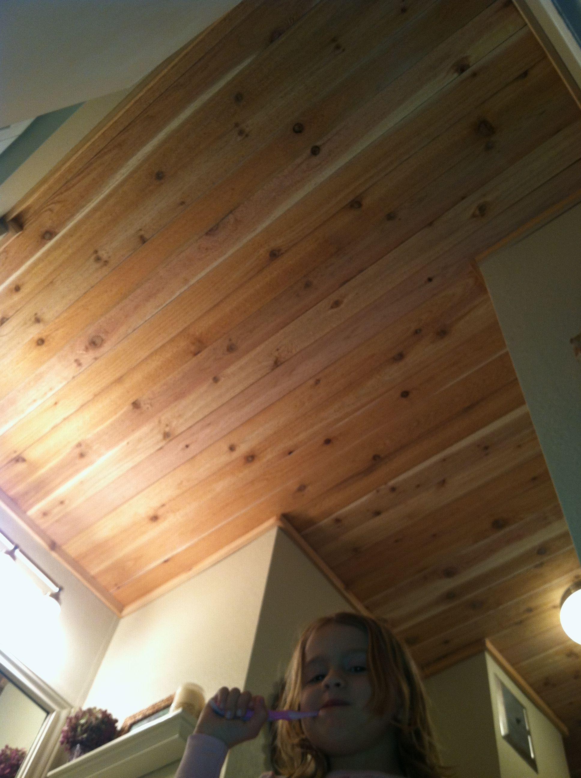 Cedar Plank Bathroom Ceiling And A Cute Face Bathroom Ceiling Small Bathroom Kitchen Bathroom Remodel