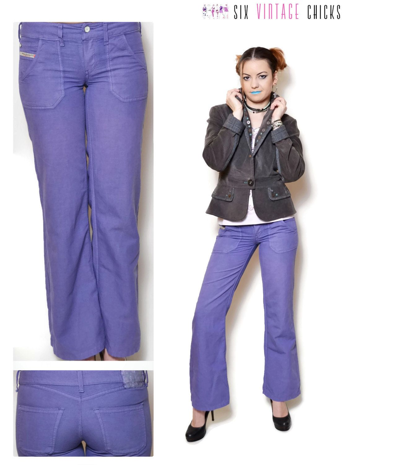 37f517da hippie pants women bell bottoms purple pants low rise pants diesel jeans  clothing unique clothing 90s clothing minimalist womens trousers XS by ...
