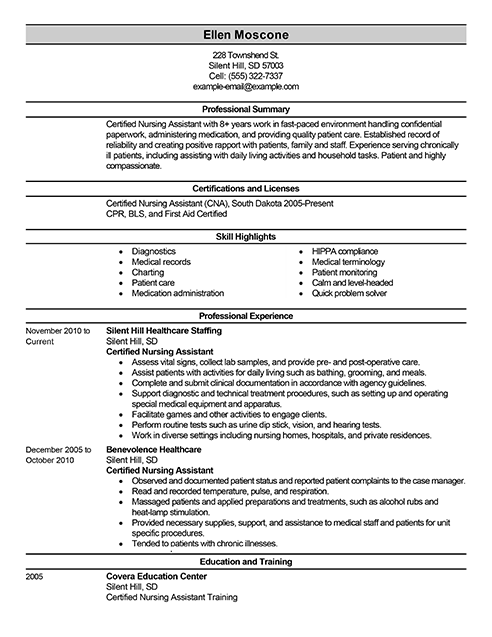 the perfect certified nursing assistant resume health career ...