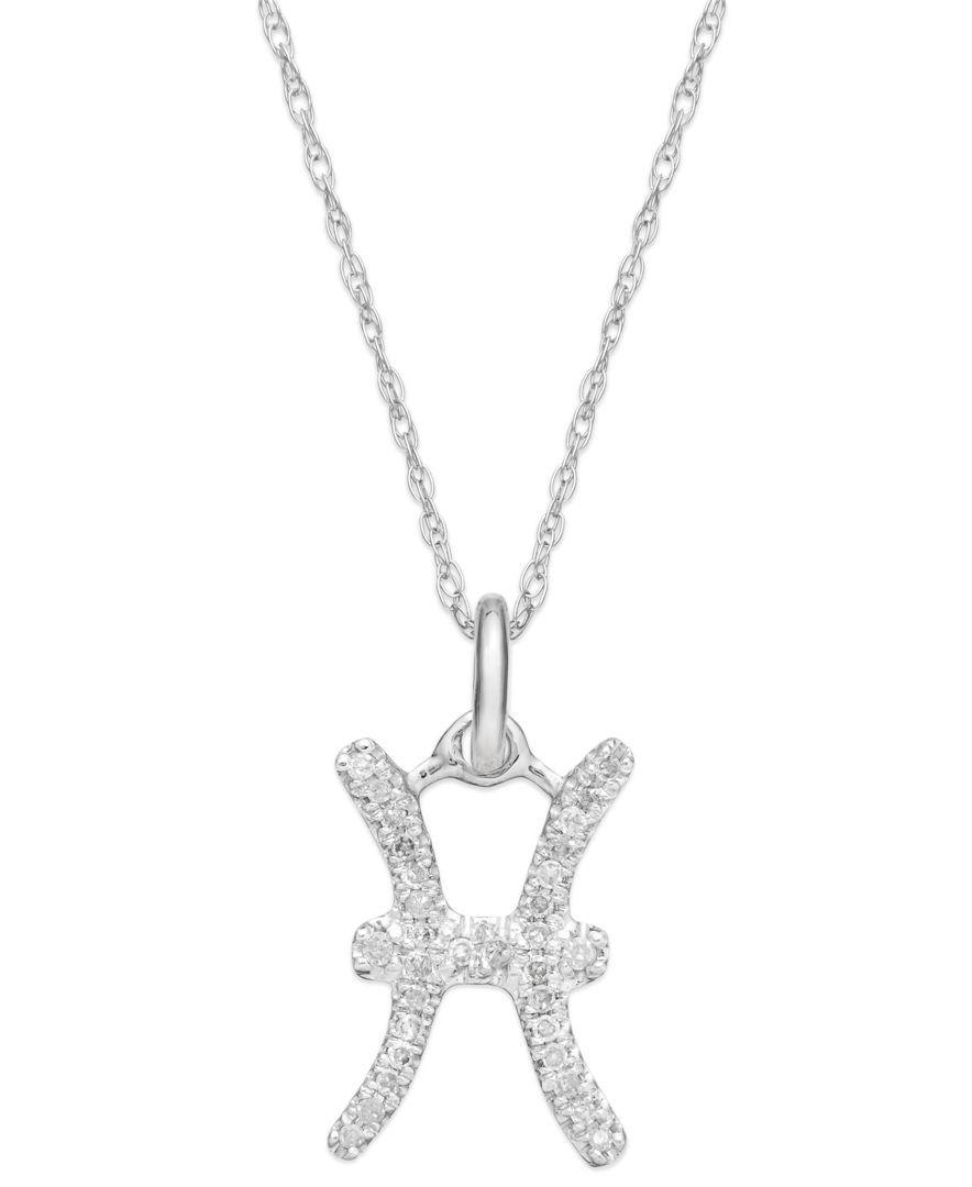 df2c52260 Diamond Pisces Zodiac Pendant Necklace in 10k White Gold (1/10 ct. t.w.)