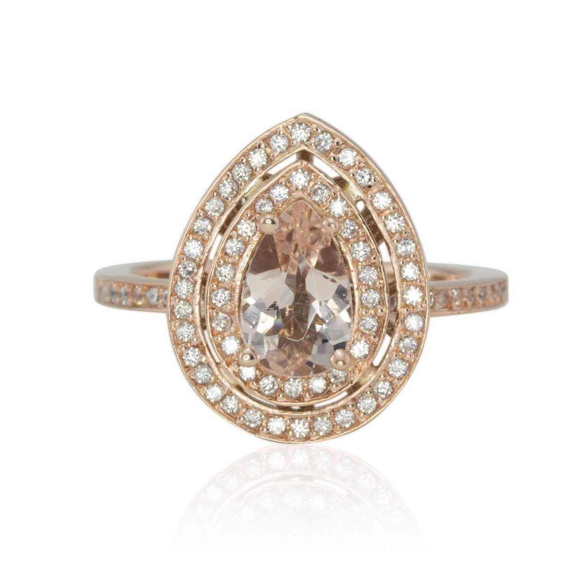 Pear Morganite and Diamond Double Halo Filigree Basket Engagement Ring - LS4326