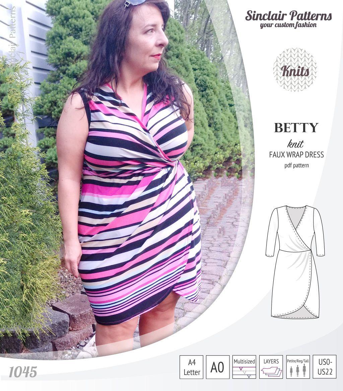 Betty faux wrap knit dress pdf knit wrap dress knit