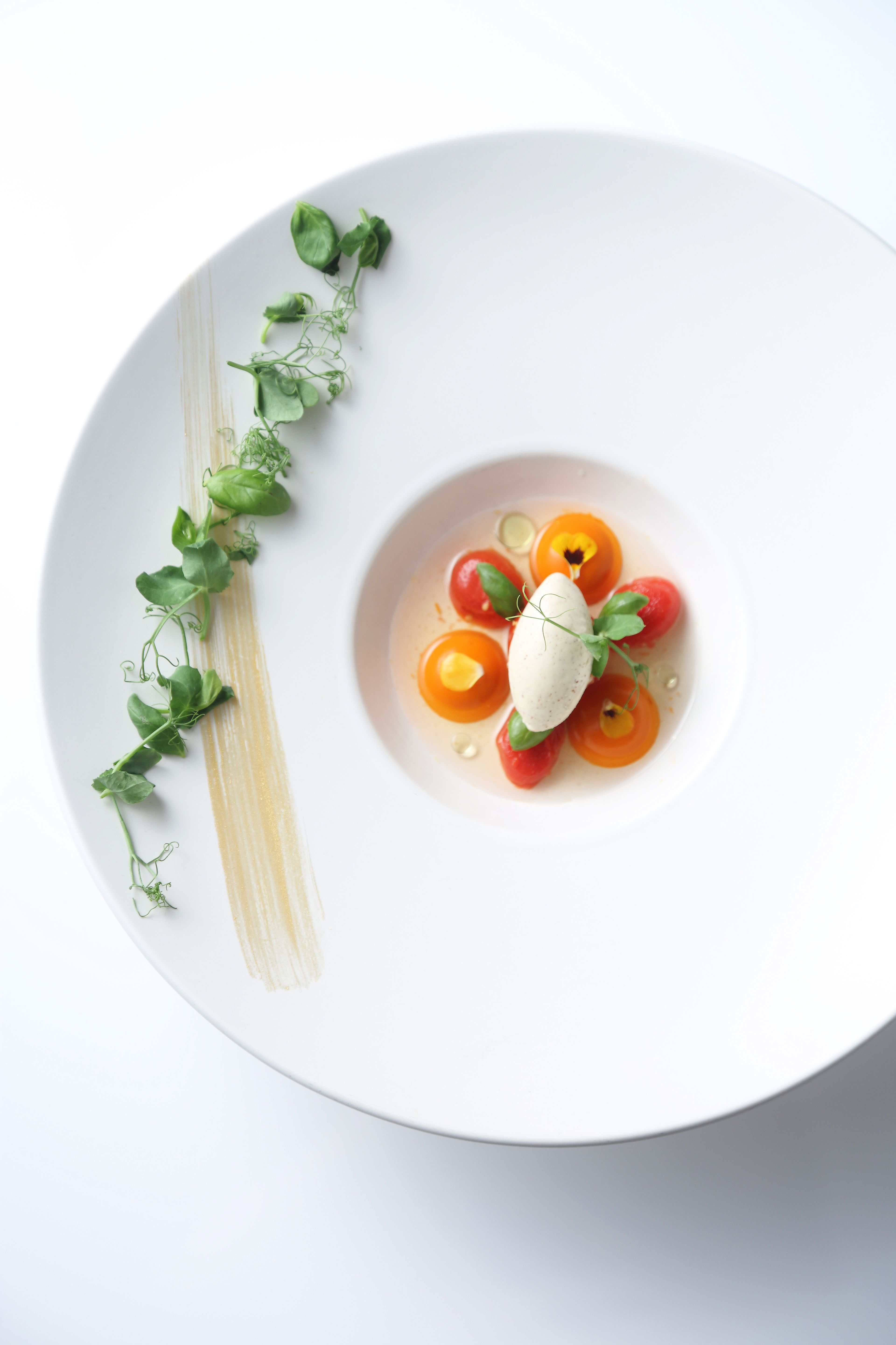 Beautifully presented fish dish from a Michelin starred restaurant
