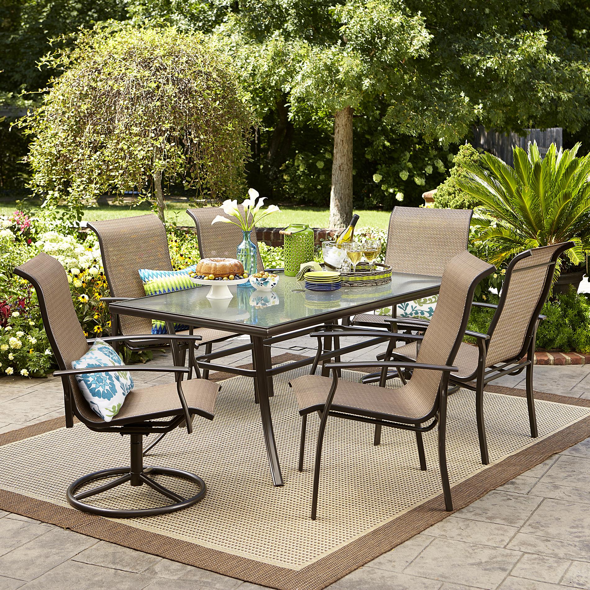 Garden Oasis Harrison 7 Pc Textured Glass Top Dining Set
