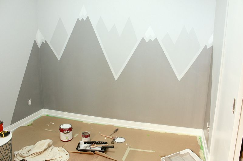 Simple Diy Mountain Wall Mural With Images Kids Room Paint