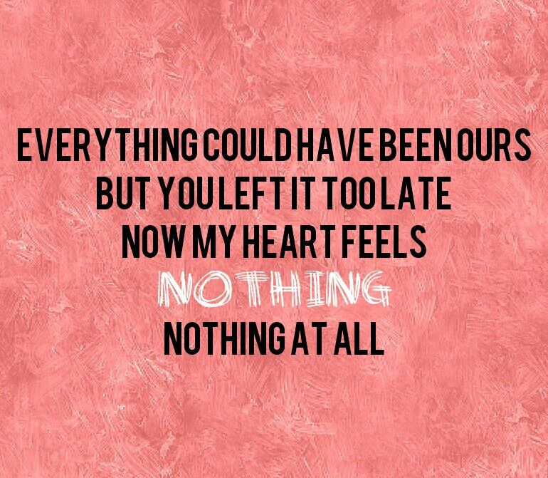 """Everything could have been ours. But you left it too late. Now my heart feels nothing, nothing at all."" 