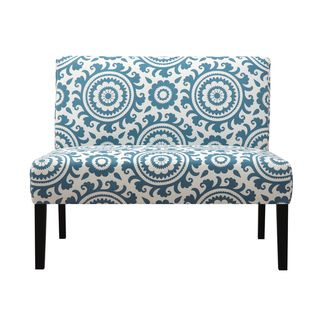 Portfolio Niles Caribbean Blue Medallion Armless Settee | Overstock.com  Shopping   Great Deals On