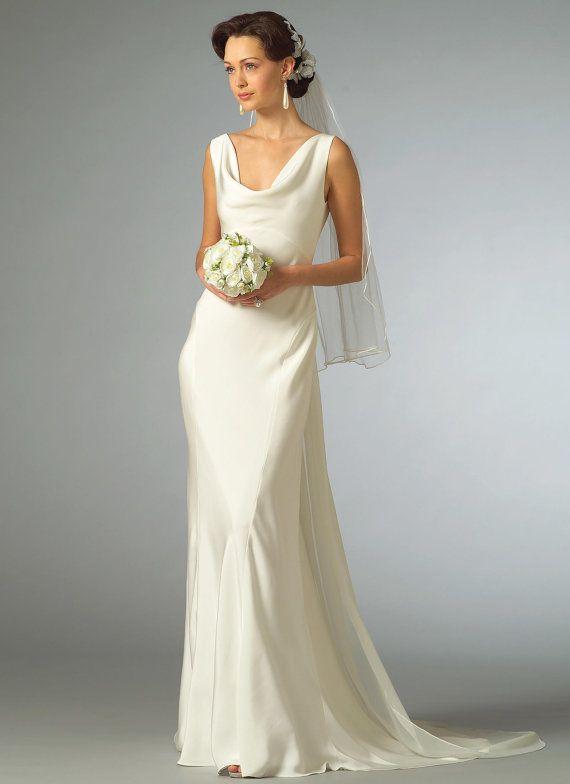 2965 Vogue Wedding Dress Pattern Cowl Neck Dress Plunging Back