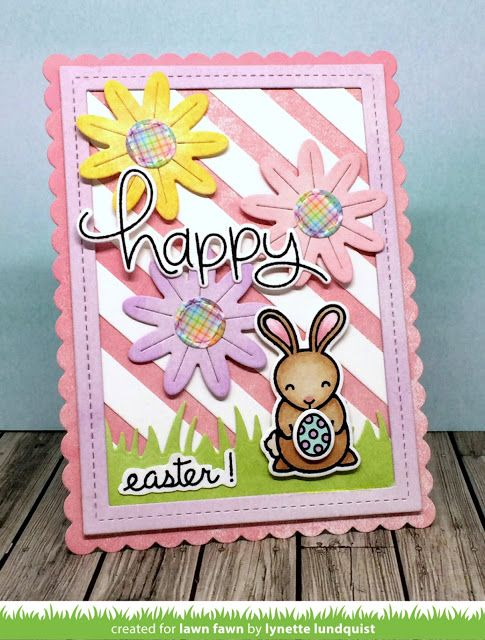 A Flower Power Easter Card by Lynette (the Lawn Fawn blog) is part of lawn Fawn Easter - Our fellow Fawnie, Lynette, joins us today to share an adorable Easter card! Her sweet card combines Flower Power, Hoppy Easter and Stripey Backdrop! The pretty pastel colors of Watercolor Wishes crea