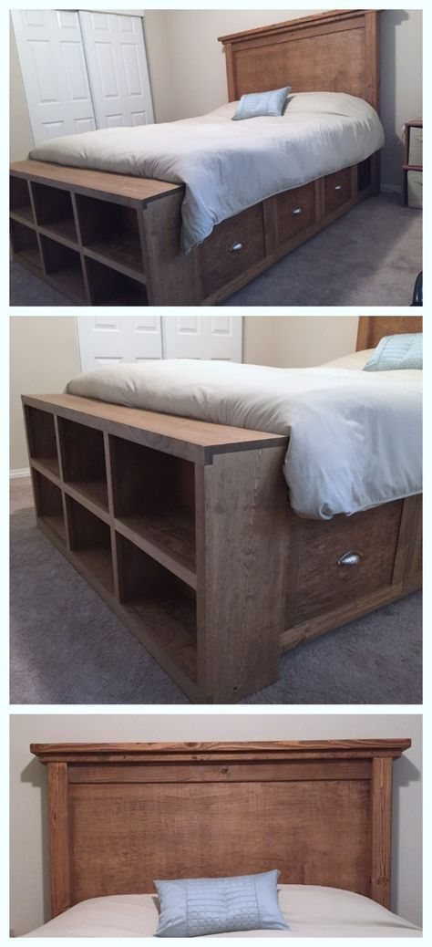 Farmhouse Bed with Storage and Bookshelf footboard | Ana White #anawhite
