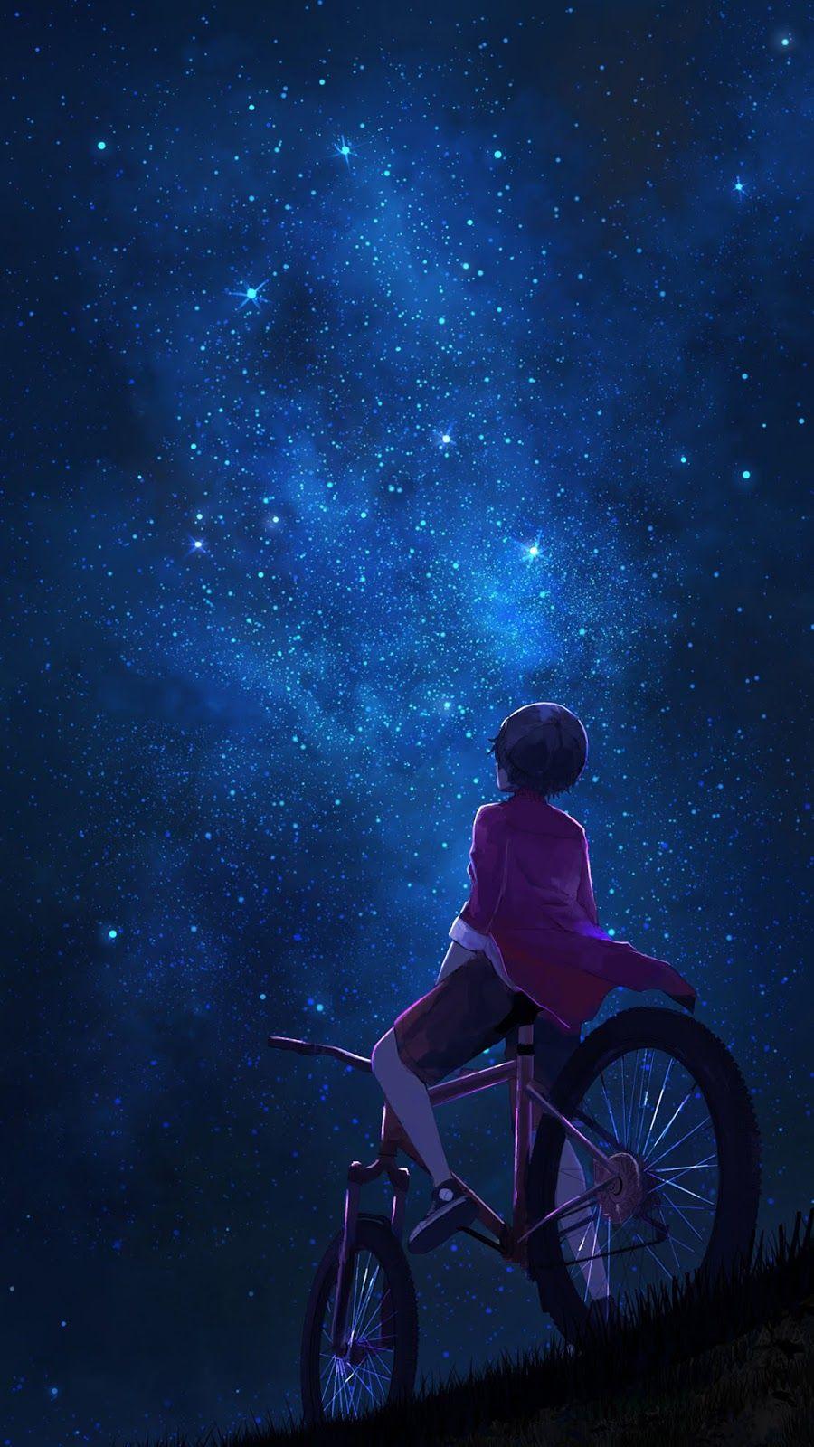 Watching the starry night Sky anime, Anime artwork