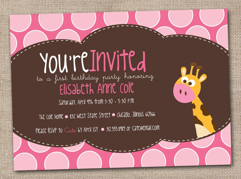 Pink Giraffe Girls Birthday Party Invitations Printable Digital ...