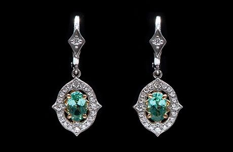 Green Tourmaline & Diamond Earrings - See more stunning jewelry at StellarPieces.com!