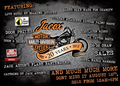 It's Jacox Harley-Davidson's 20th Anniversary. The party is on ...