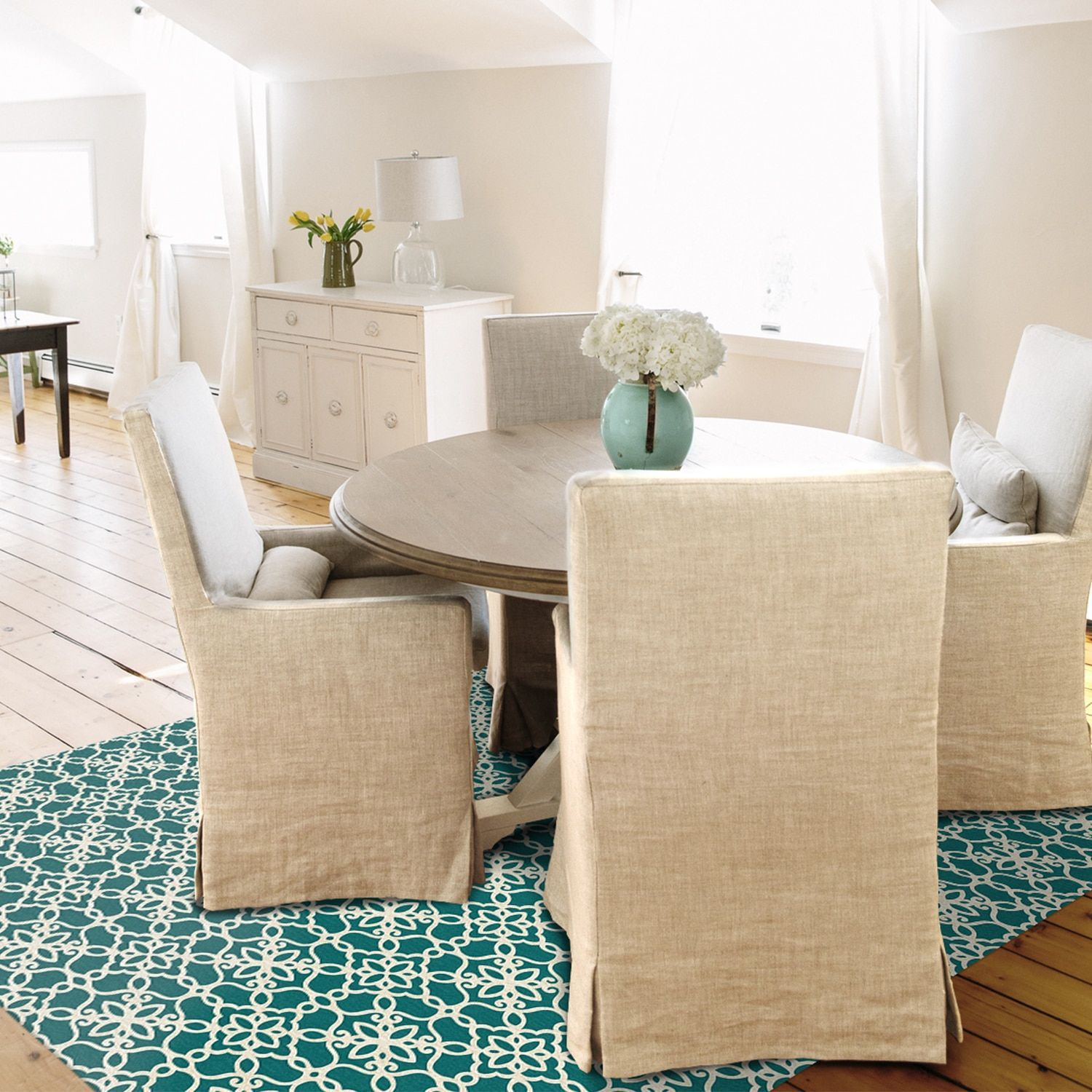 Dog Proof Throw Rugs: RUGGABLE Washable Indoor/ Outdoor Floral Tiles Teal And