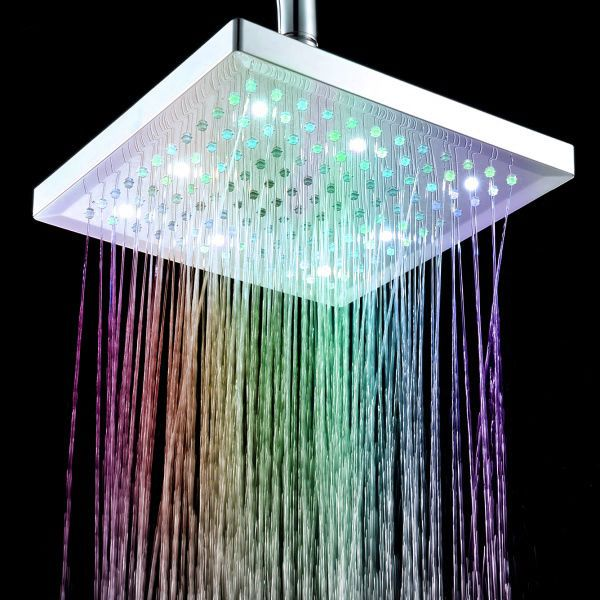 New 8 Inch Square 7 Colors Changing Led Rainfall Shower Head Water Faucet Led Shower Head Shower Heads Rainfall Shower