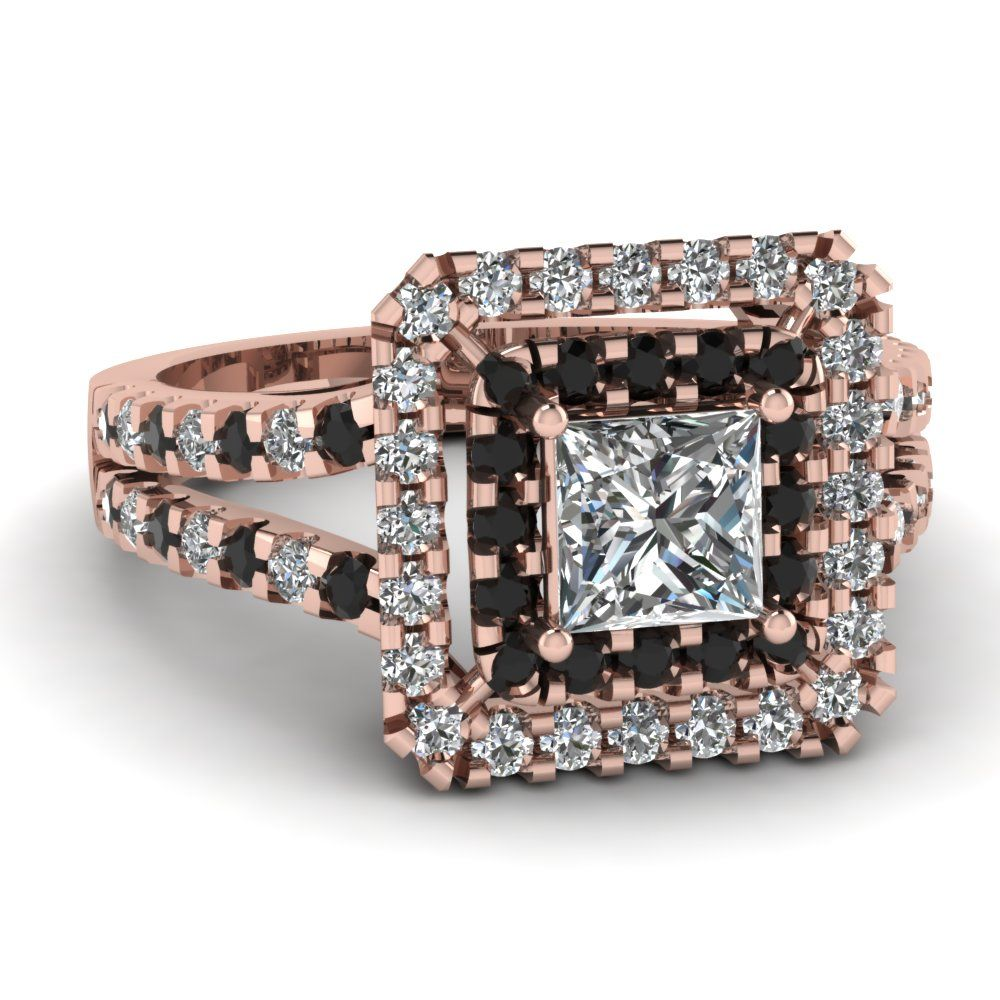 Effervescent halo ring black diamond engagement princess cut and