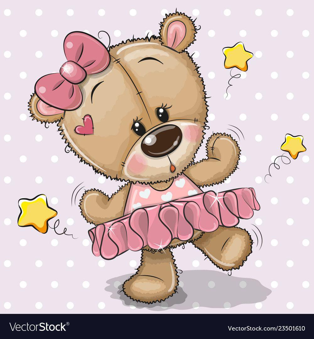 Cute Cartoon Teddy Bear Ballerina Royalty Free Vector Image Teddy Bear Cartoon Teddy Bear Ballerina Cute Cartoon Pictures