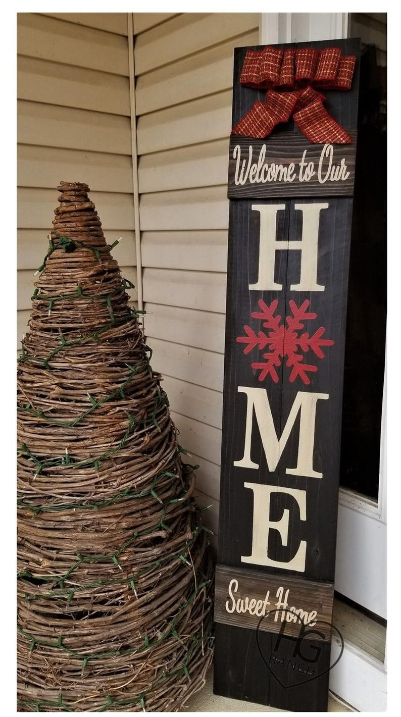 Winter Porch Sign Snowflake Welcome Winter Bow Log