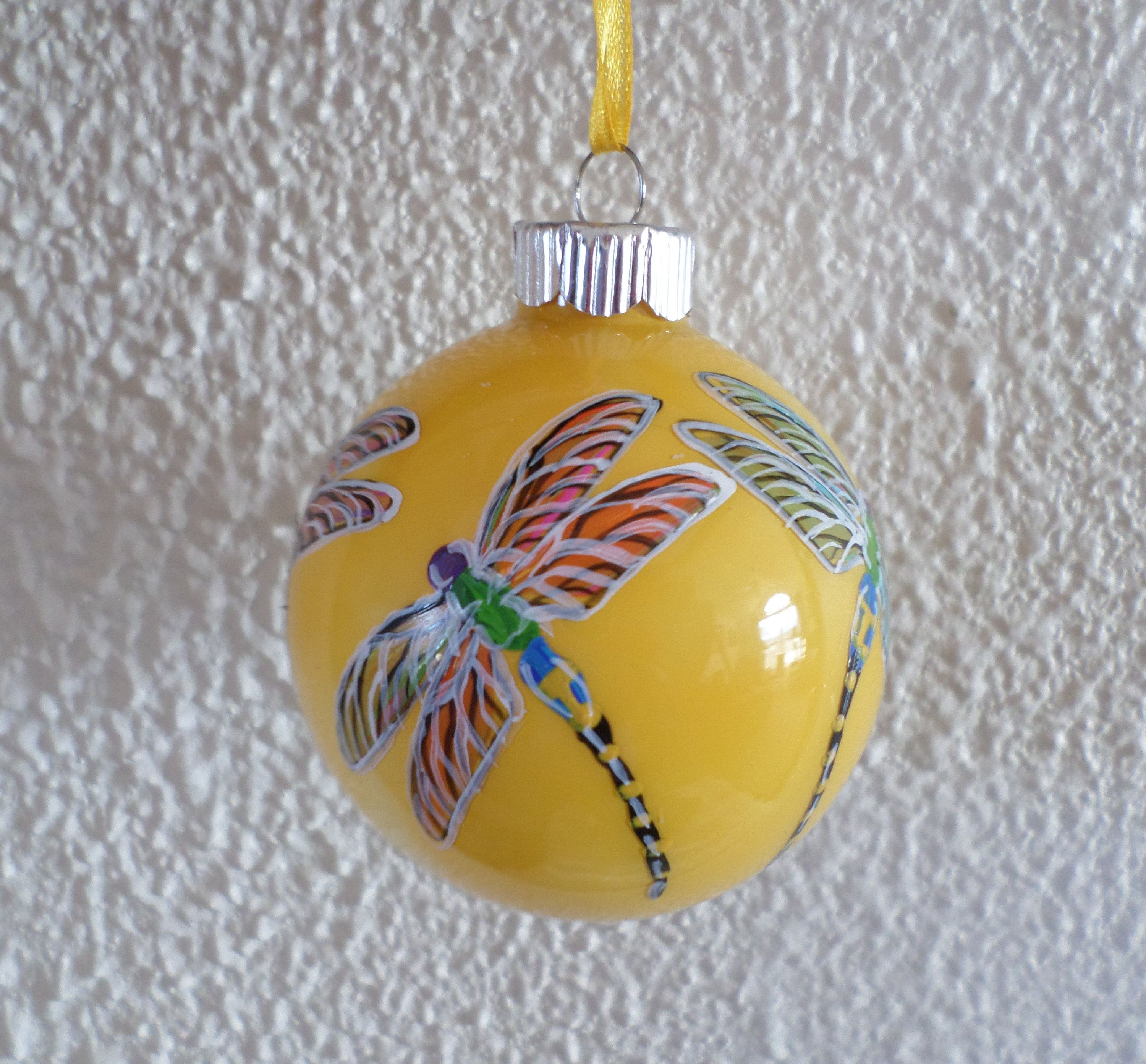 Hand Painted Ornament Yellow Dragonfly Christmas Ornament Dragonfly Gift Painted Ornaments Hand Painted Ornaments Dragonfly Gifts