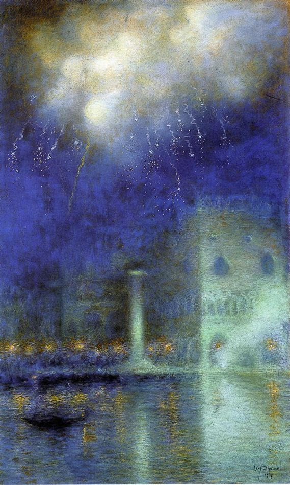 Lucien Lévy-Dhurmer (1865-1953) - Fireworks over Venice. Pastel on Paper. Venice, Italy. Circa 1910.