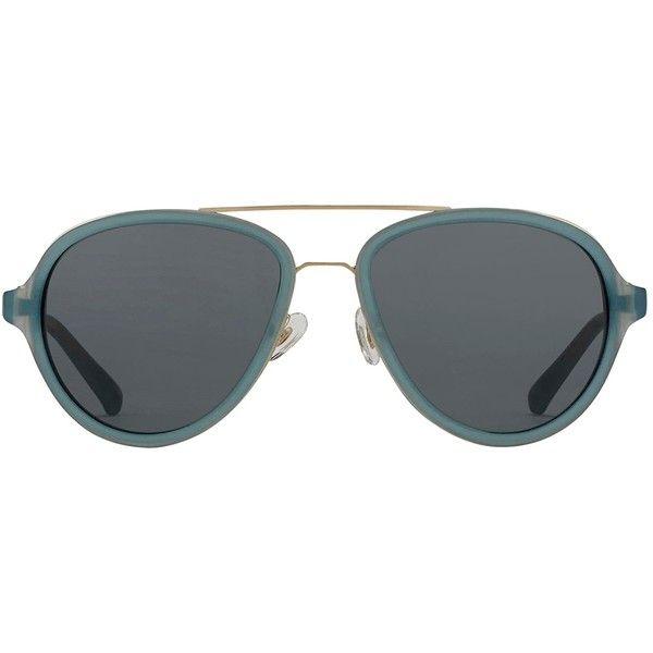 3.1 Phillip Lim Aviator Sunglasses (€260) ❤ liked on Polyvore featuring accessories, eyewear, sunglasses, blue, blue aviator glasses, blue glasses, blue sunglasses, aviator glasses and 3.1 phillip lim