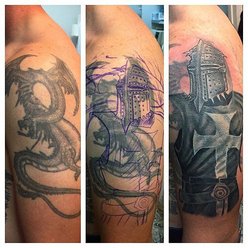 First session on this big templar knight cover up tattoo for Big tattoo cover up