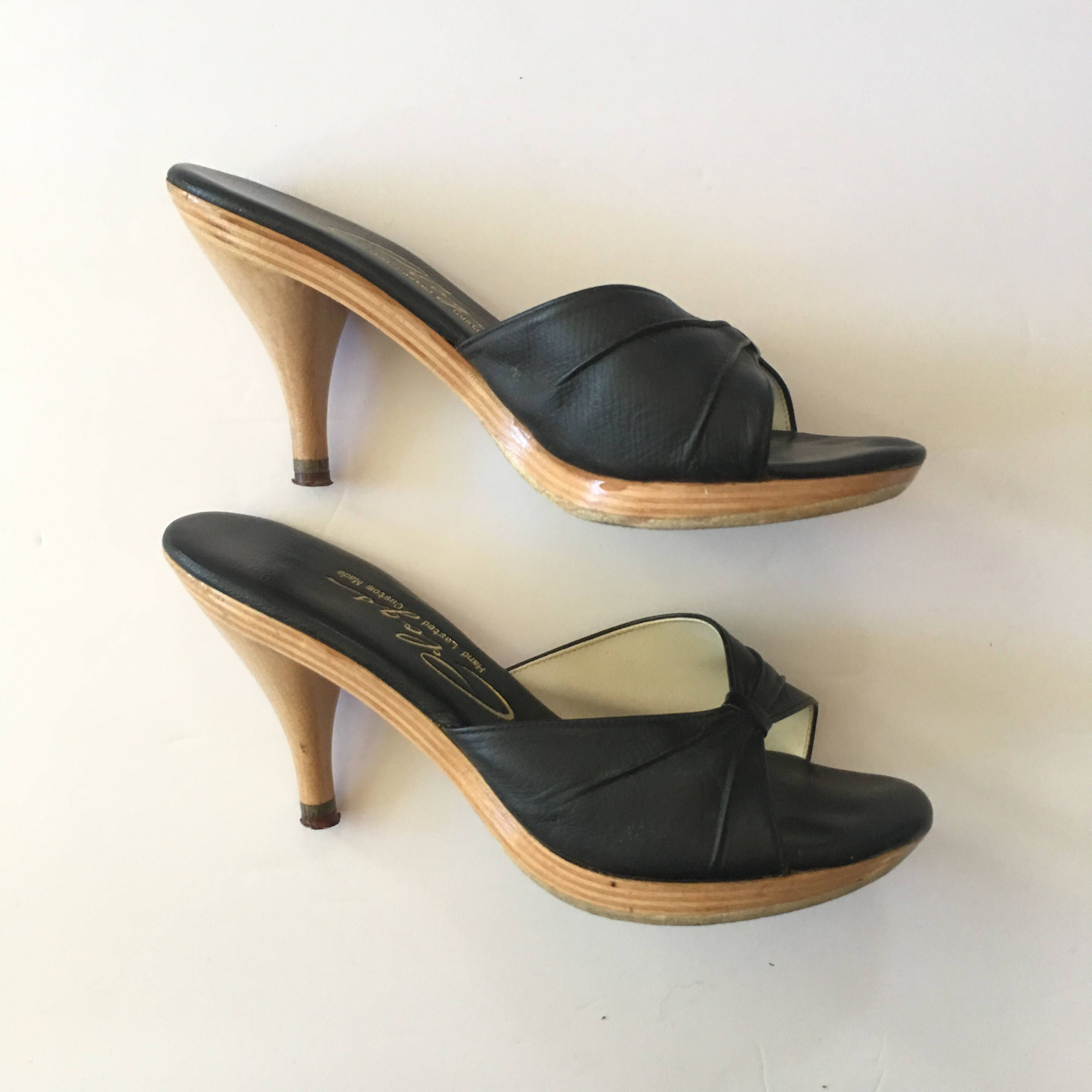 61bc4414aca3 Vintage 1950 s   1960s Polly Style Open Toe Mules - Black Leather and Wood  Handcrafted by