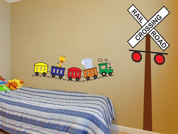Railroad Crossing Sign And Train Wall Decal By Wall Jems Wall Decals    Nursery And Kids Bedroom Theme