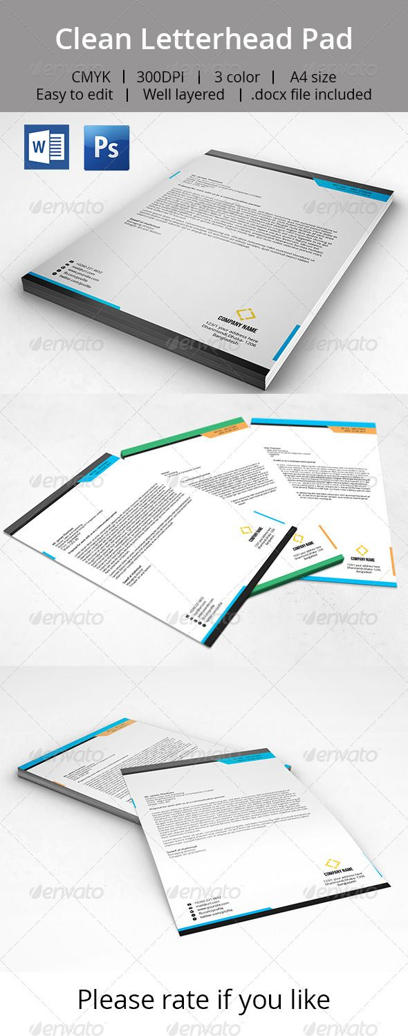 Clean Letterhead Pad With Ms Word Doc Stationery